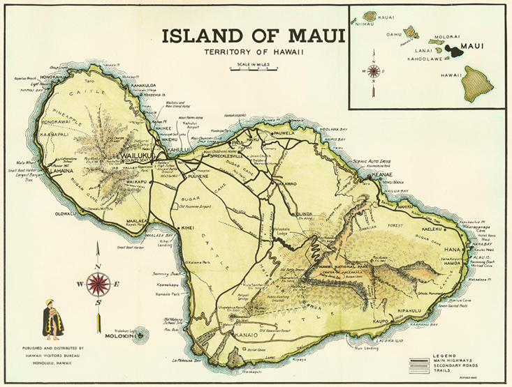 Hawaii Map Maui.19th 20th Century Maps Alliance Of Maui Community Associations